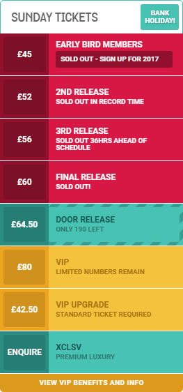 an image of the Sunday ticket pricelist for WE ARE FSTVL 2016