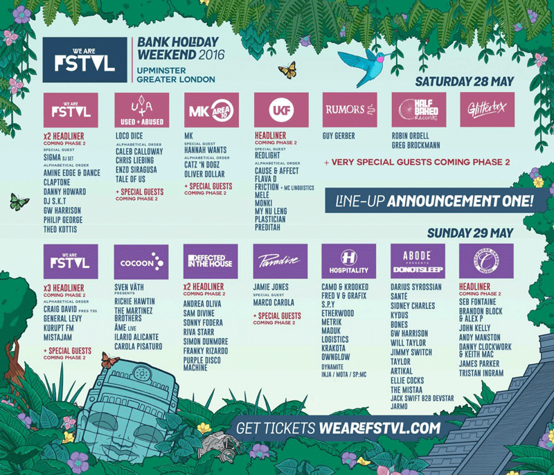 an image of the artist line up for WE ARE FSTVL 2016