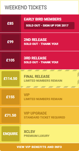 an image of the weekend ticket pricelist for WE ARE FSTVL 2016