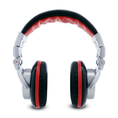 Standard DJ Equipment and the front view of Numark Red Wave DJ Headphones