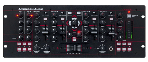 "A top down view of one of the American Audio 19 MXR Mixer 19"" Professional DJ mixers"