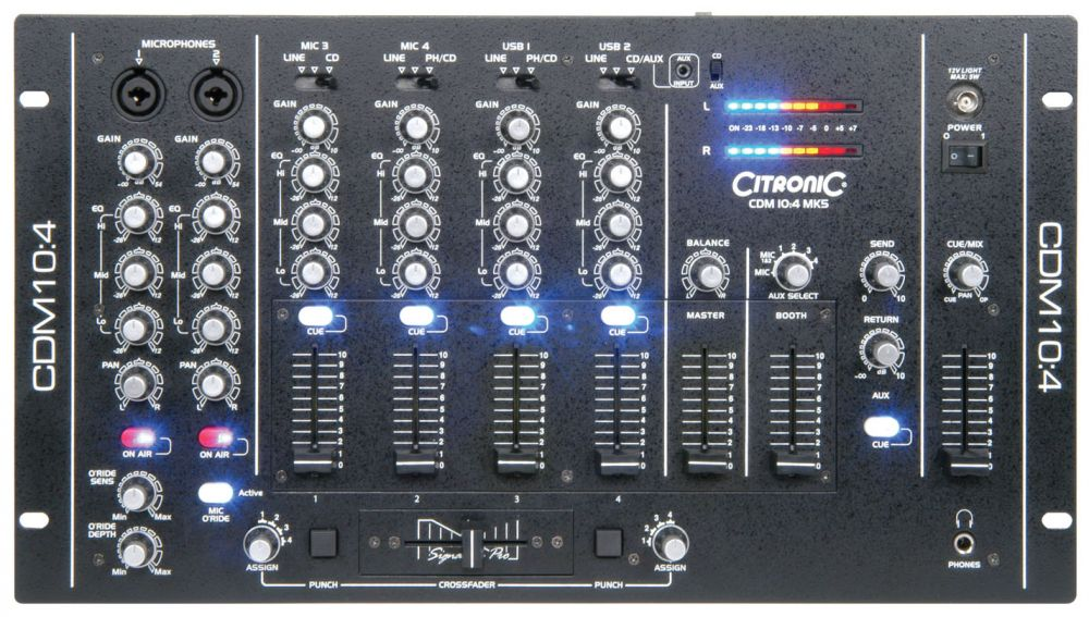 A top down view of on of the Citronic CDM104 MKV 19 Professional DJ Mixers