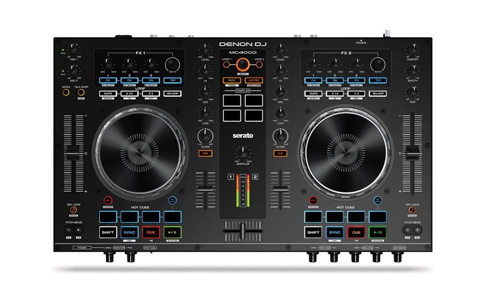 A top down view of one of the best Denon DJ controllers, the Denon DJ MC4000 plug and play DJ controller