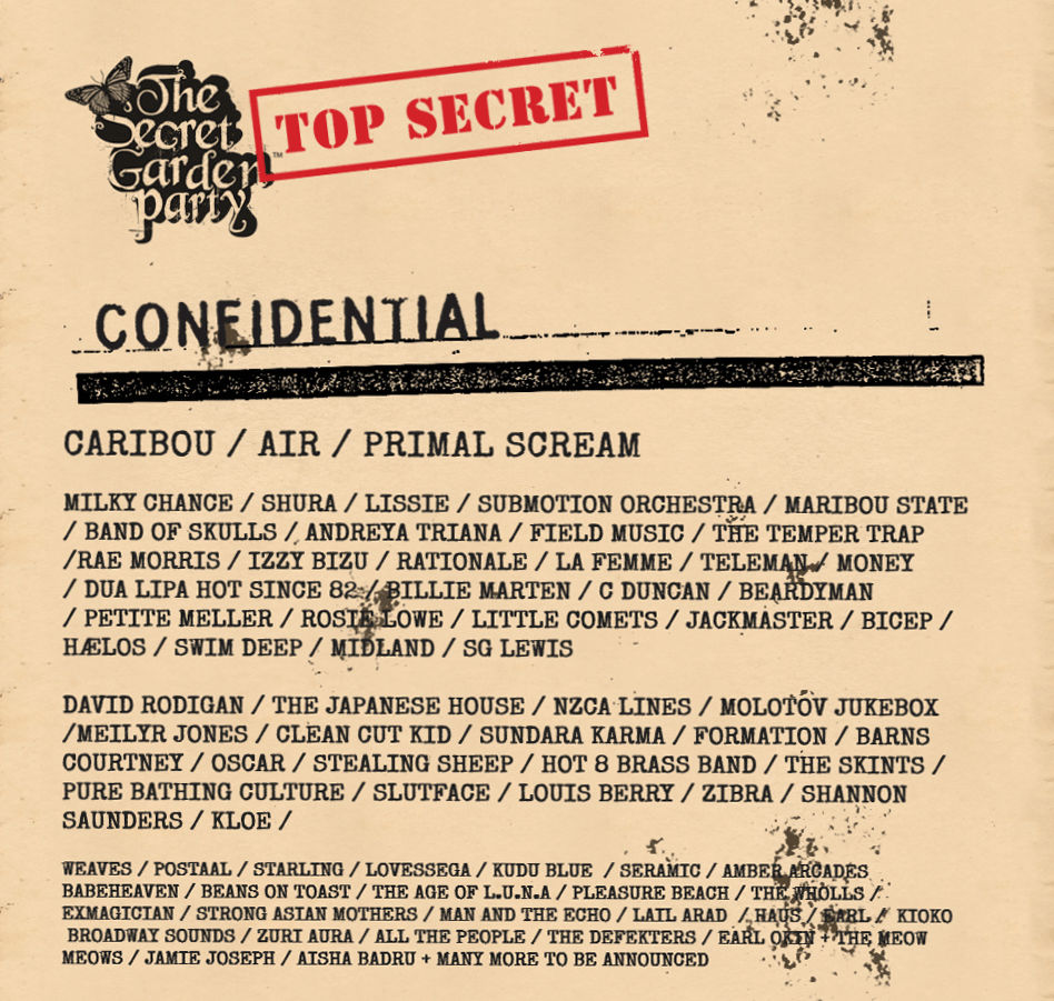 The Secret garden party artist line up