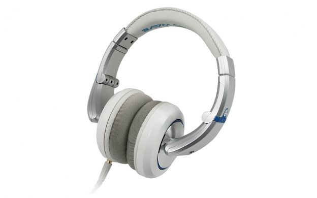 A right angled view of a pair of white Numark Electrowave Professional DJ Headphones