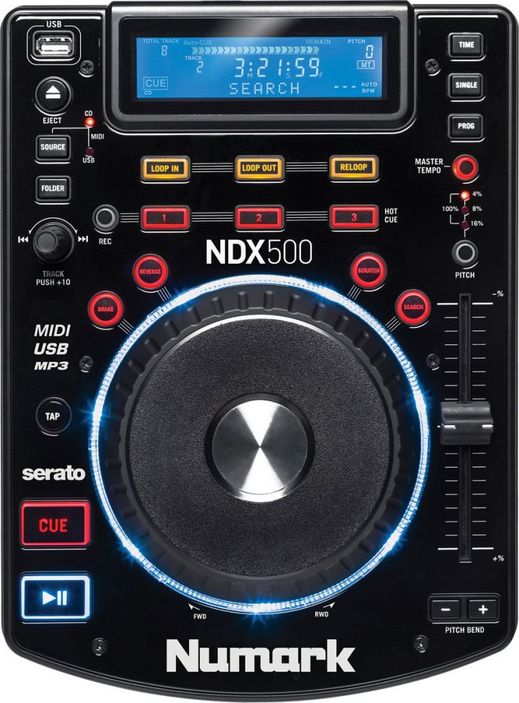 A top down view of a Numark NDX500 USB/CD media player and software DJ Controller, which is one of the best DJ Controllers on the market