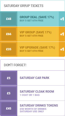 an image of the Saturday group ticket pricelist for WE ARE FSTVL 2016