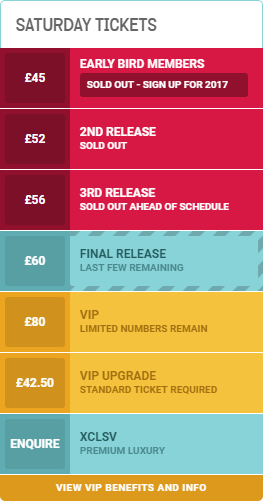an image of the Saturday ticket pricelist for WE ARE FSTVL 2016