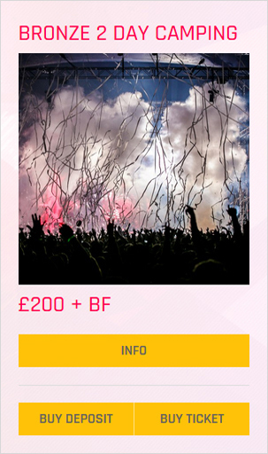 Creamfields festival Bronze 2 day camping ticket prices and info
