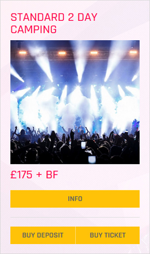 Creamfields festival Standard 2 day camping ticket prices and info
