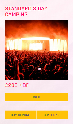 Creamfields festival Standard 3 day camping ticket prices and info