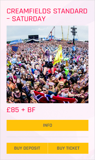 Creamfields festival Standard 3 day non-camping ticket prices and info