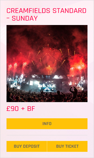 Creamfields festival Standard Sunday ticket prices and info
