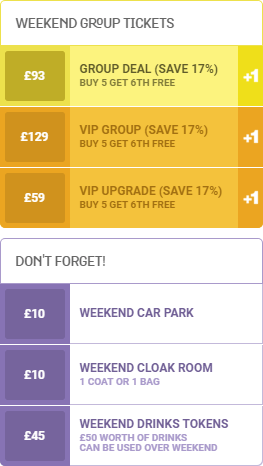 an image of the weekend group ticket pricelist for WE ARE FSTVL 2016