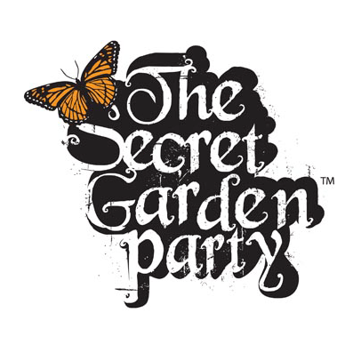 The Secret Garden Party music festivals logo with red admiral butterfly